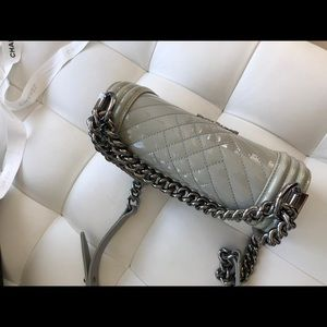 CHANEL Bags - Chanel boy small patent leather gray